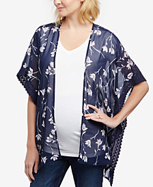 Motherhood Maternity Floral-Print Lace-Trim Kimono