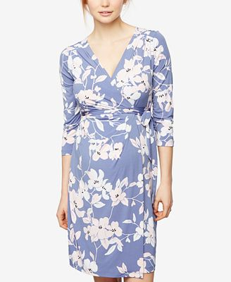 A Pea In The Pod Maternity Floral-Print Wrap Dress