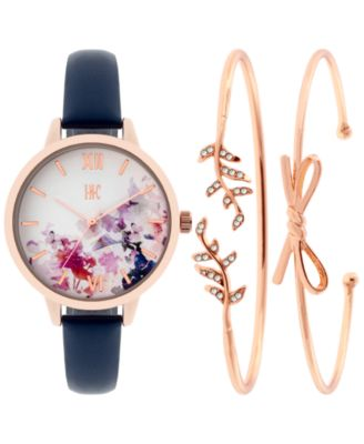 Image of INC International Concepts Women's Leather Strap Watch & Bracelet Set 34mm, Only at Macy's