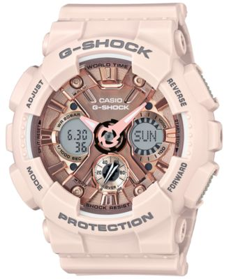 Image of G-Shock Women's Analog-Digital Blush S Peach Resin Strap Watch 46mm GMAS120MF-4A