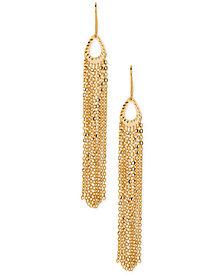 Italian Gold Multi-Chain Fringe Drop Earrings in 14k Gold