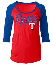5th & Ocean Women's Texas Rangers Sequin Raglan T-Shirt
