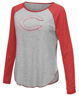 Touch by Alyssa Milano Women's Cincinnati Reds Line Drive Long Sleeve T-Shirt