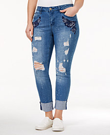 Rampage Trendy Plus Size Sophie Ripped Ann Wash Skinny Jeans