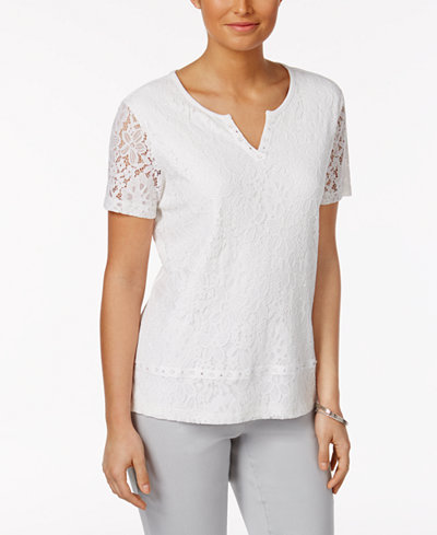Alfred dunner rose hill lace overlay top tops women for Alfred dunner wedding dresses