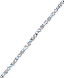 Blue Topaz (3-1/2 ct. t.w.) XO Flex Bracelet in Sterling Silver