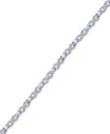 Blue Topaz (3-1/2 ct. t.w.) XO Flex Bracelet in Sterling Silver