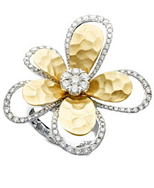 D'Oro by EFFY Diamond Flower (1-1/4 ct. t.w.) in Two-Tone 14k Gold