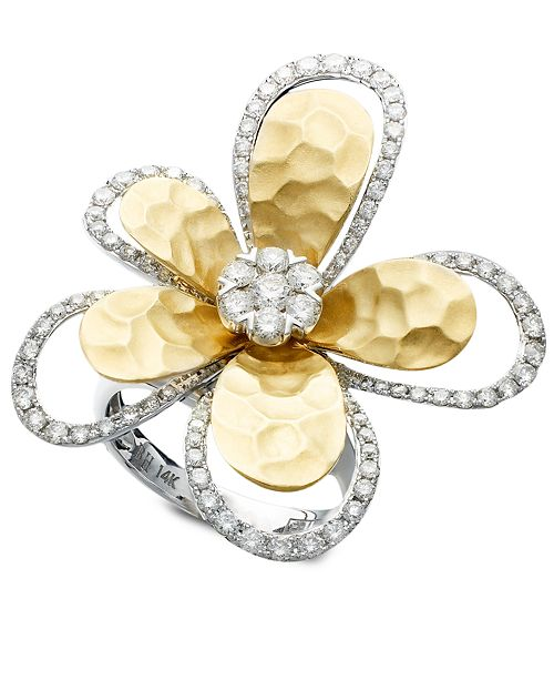 EFFY Collection D'Oro by EFFY Diamond Flower (1-1/4 ct. t.w.) in Two-Tone 14k Gold