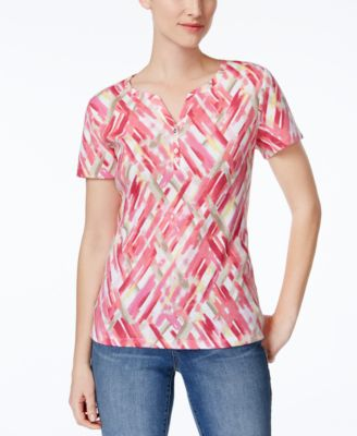 Image of Karen Scott Printed Henley T-Shirt, Only at Macy's