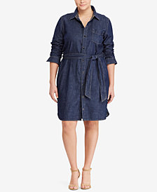 Lauren Ralph Lauren Plus Size Cotton Denim Shirtdress