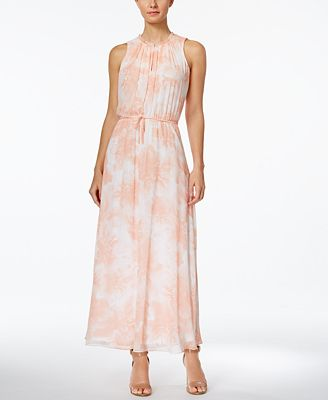 calvin klein floral-print chiffon maxi dress - dresses - women