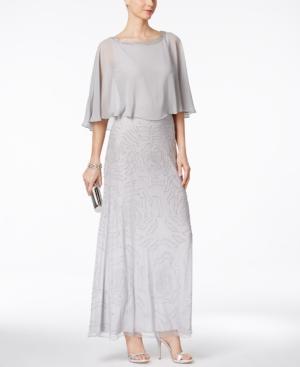 1920s Style Dresses J Kara Beaded V-Back Capelet Gown $269.00 AT vintagedancer.com