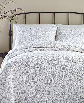 Jessica Simpson Cotton Medallion Gray King Quilt Quilts