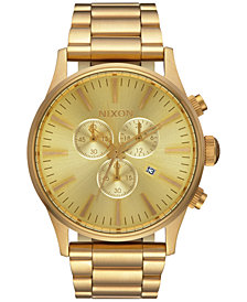Nixon Men's Sentry Chronograph Gold-Tone Stainless Steel Bracelet Watch 42mm A386-502-00