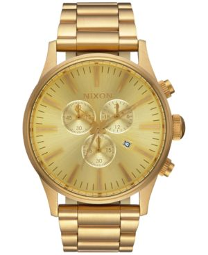MEN'S SENTRY CHRONOGRAPH GOLD-TONE STAINLESS STEEL BRACELET WATCH 42MM A386-502-00