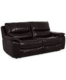 """CLOSEOUT! Daren 82"""" Leather 2-pc Power Reclining Sectional Sofa, Created for Macy's"""