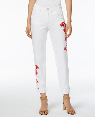Style & Co Embroidered Boyfriend Jeans, Created for Macy's