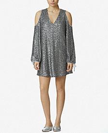 Avec Les Filles Sequined Cold-Shoulder Dress