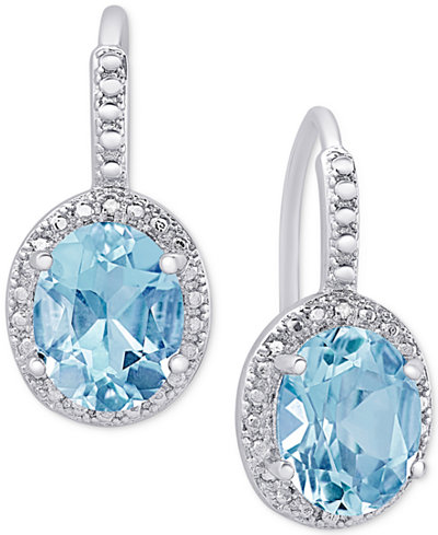 Blue Topaz (6-3/8 ct. t.w.) and Diamond Accent Drop Earrings in Sterling Silver