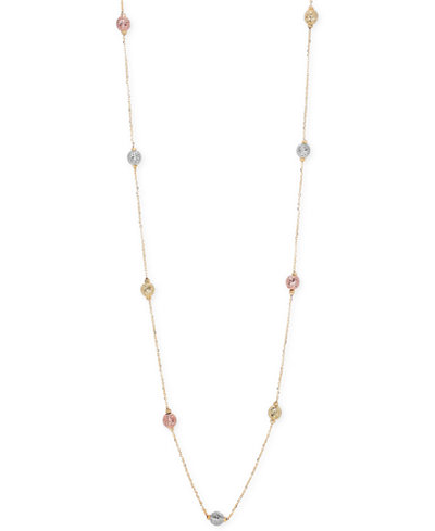Tri-Tone Textured Bead Long Necklace in 14k Gold, White Gold and Rose Gold