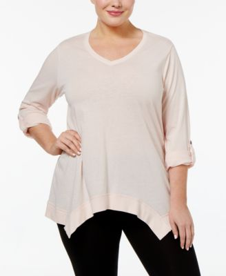 Calvin Klein Performance Plus Size Handkerchief-Hem Top