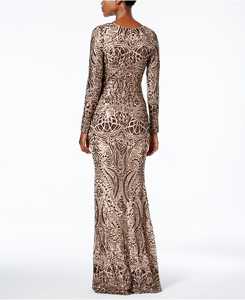 c6c3a431f0c Betsy   Adam Long-Sleeve Sequined Gown   Reviews - Dresses - Women ...
