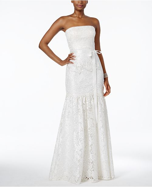 Adrianna Papell Lace Strapless Mermaid Gown