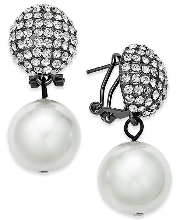 Joan Boyce Imitation Pearl and Pavé Drop Earrings