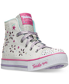 Skechers Little Girls' Twinkle Toes: Shuffles - Sparkly and Sweet High Top Sneakers from Finish Line