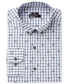 Bar III Men's Slim-Fit Stretch Easy Care Blue Sunglasses Gingham Print Dress Shirt, Created for Macy's