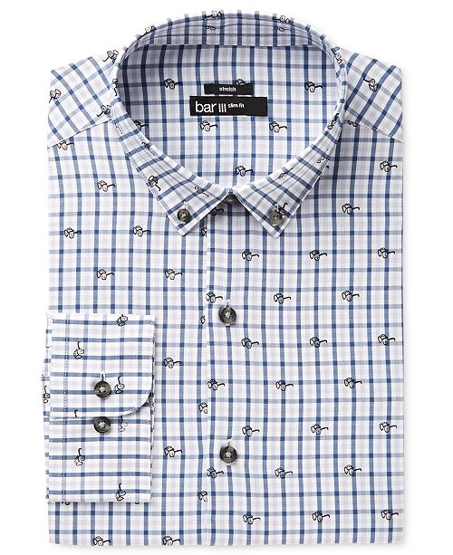 Men's Slim-Fit Stretch Easy Care Blue Sunglasses Gingham Print Dress Shirt, Created for Macy's