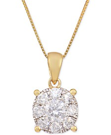 Diamond Pendant Necklace in 14k Yellow Gold (1 ct. t.w.)