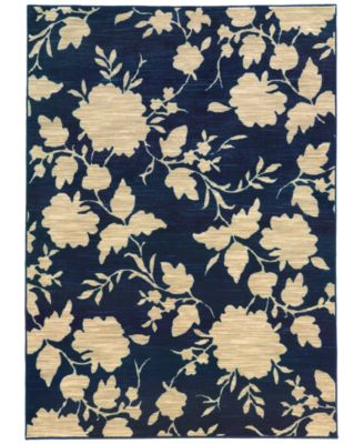 "CLOSEOUT!  Brookside Mod Floral Navy 3'3"" x 5'5"" Area Rug"