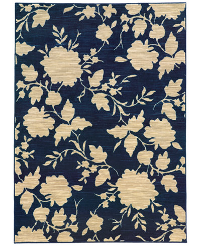 CLOSEOUT! JHB Design Brookside Mod Floral Navy Area Rug