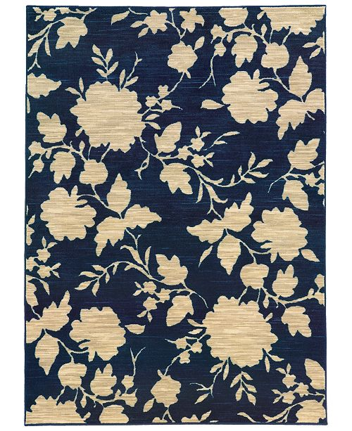 CLOSEOUT!  Brookside Mod Floral Navy 3'3