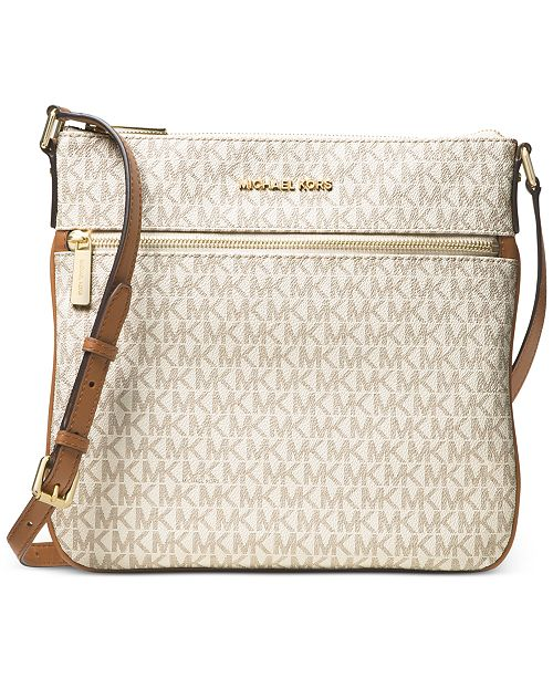 c0bf23fb046673 Michael Kors Signature Bedford Flat Small Crossbody & Reviews ...
