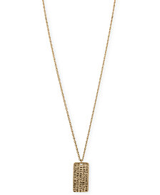 RACHEL Rachel Roy Gold-Tone Etched Inspiration Dog Tag Pendant Necklace