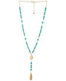 RACHEL Rachel Roy Gold-Tone Blue Bead Y-Neck Necklace
