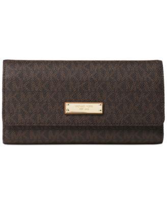 michael kors signature jet set item checkbook wallet handbags rh macys com