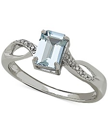 aquamarine 910 ct tw and diamond accent ring in 14k white - Aquamarine Wedding Rings