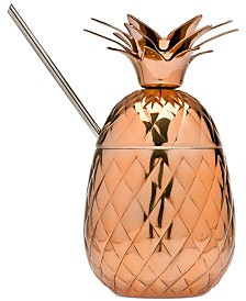 Godinger Copper Pineapple Mug with Straw