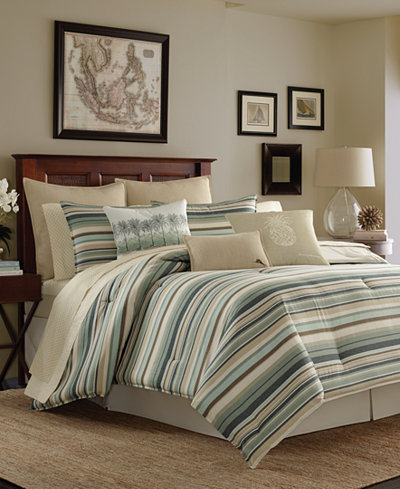 Tommy Bahama Canvas Stripe Comforter Sets - Comforters: Down ...