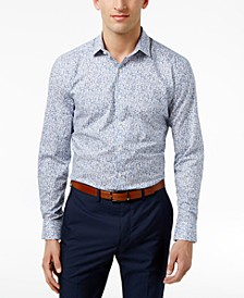 Men's Slim-Fit Performance Stretch Floral-Print Dress Shirt, Created for Macy's