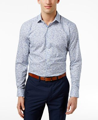 Bar III Men's Slim-Fit Stretch Easy Care Dandy Floral Dress Shirt, Created for Macy's