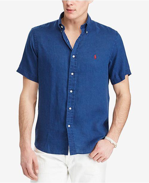 New Large Polo Ralph Lauren Mens Short Sleeve Button Down Linen Shirt Top Purple Shirts