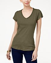 INC International Concepts Cotton V-Neck T-Shirt, Created for Macy's