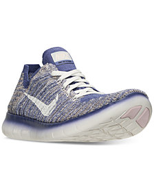 Nike Big Girls' Free Run Flyknit Metallic Running Sneakers from Finish Line