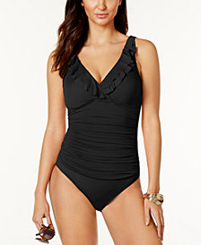 Lauren Ralph Lauren Slimming Fit Underwire Ruffled One-Piece Swimsuit