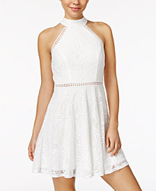 City Studios Juniors' Crochet Halter Dress